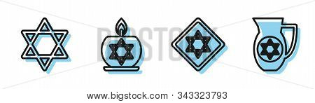 Set Line Star Of David, Star Of David, Burning Candle In Candlestick With Star Of David And Decanter