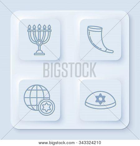 Set Line Hanukkah Menorah, Traditional Ram Horn, Shofar, World Globe And Israel And Jewish Kippah Wi