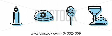 Set Line Balloons With Ribbon With Star Of David, Burning Candle In Candlestick, Jewish Kippah With
