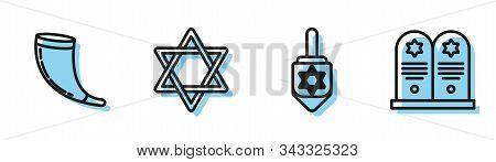 Set Line Hanukkah Dreidel, Traditional Ram Horn, Shofar, Star Of David And Tombstone With Star Of Da