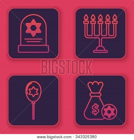 Set Line Tombstone With Star Of David, Balloons With Ribbon With Star Of David, Hanukkah Menorah And