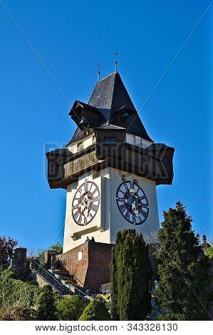 Historic Clocktower Of Graz, The Towns Landmark