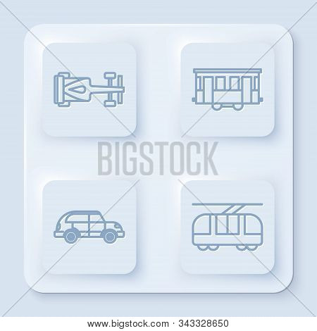 Set Line Formula Race Car, Old City Tram, Hatchback Car And Tram And Railway. White Square Button. V