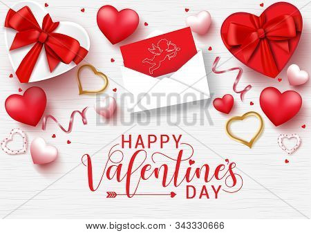 Valentines Day Vector Background Template. Happy Valentines Day Greeting Typography With Valentine E