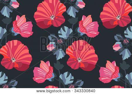 Art Floral Vector Seamless Pattern. Garden Mallow.