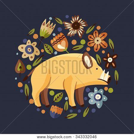 Wild Boar Woodland Flat Vector Animal Round Illustration. Cute Cartoon Hog Character With Ornate Flo
