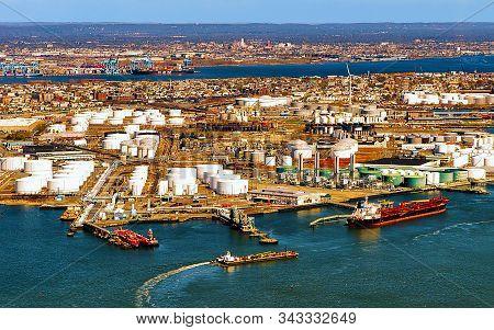 Aerial View On Oil Storages In Bayonne Reflex