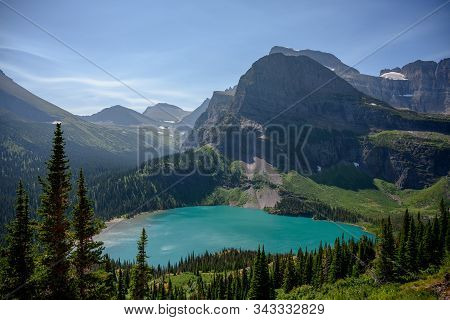 Looking Down On Grinnell Lake In Montana Mountains