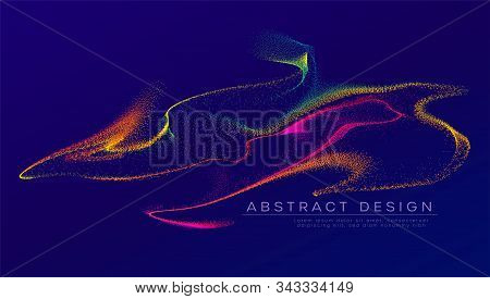 Glowing Particles Liquid Dynamic Flow. Trendy Fluid Cover Design. Graphic Background Explosion, Moti