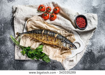 Grilled Mackerel With Parsley And Cherry Tomatoes. Gray Background. Top View