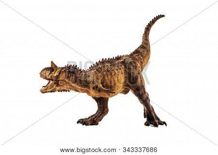 Carnotaurus  Dinosaur On White Background    Isolated Background