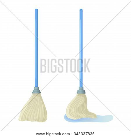 Cartoon Swab Stock Vector Illustration. Mop Wipes A Puddle. Cleaning Services, Household Concept. Eq