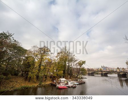 Panorama Of The Old Town Of Prague, Czech Republic, With Focus Prague Castle (prazsky Hrad) Seen Fro