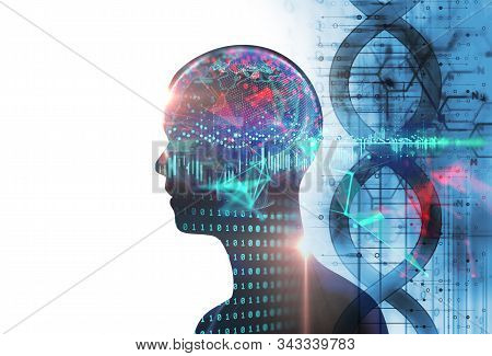 Double Exposure Image Of Virtual Human 3dillustration On Business And Learning Technology  Backgroun