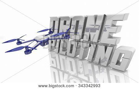 Drone Piloting Video Footage Surveillance Spy Words 3d Illustration