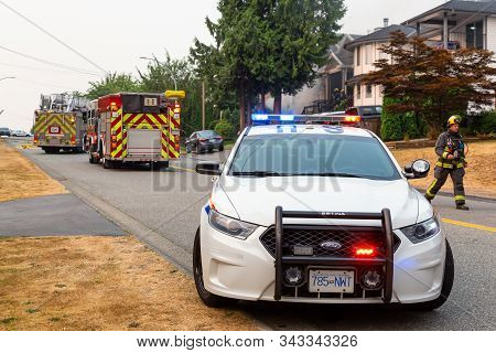 Fraser Heights, Surrey, Greater Vancouver, British Columbia, Canada - August 5, 2017: Police Car Blo
