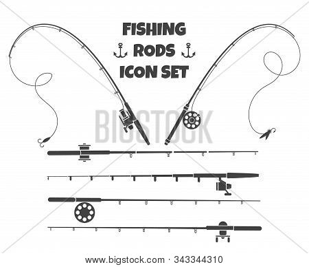 Spinning Fishing Rod. Fish-rod And Spoon-bait Tools Set Isolated On White Background With Tackle And