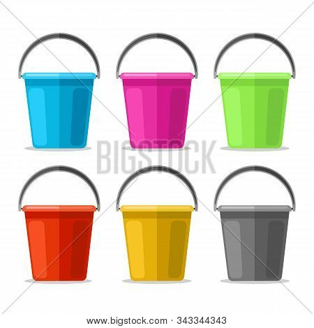 Colored Plastics Pails. Cartoon Garden Buckets Of Blue And Yellow, Red And Green Colors Vector Illus