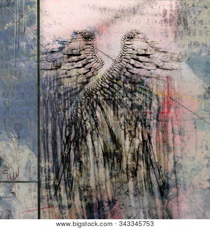 Modern dark art. Angel Wings. 3D rendering