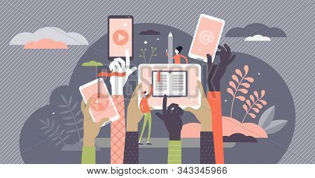 Online Course Vector Illustration. Internet Learning In Flat Tiny Persons Concept. Professional Know