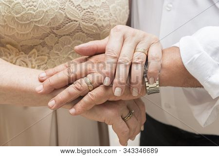 Closeup Of The Hands Of An Old Couple Over Each Other. Concept Of Respect, Companionship, Togetherne