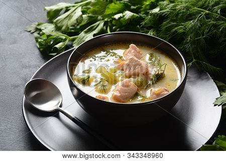 Creamy Fish Soup With Salmon, Potatoes, Onions , Carrots, Dill And Celery . Kalakeitto- Traditional