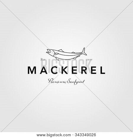 Mackerel Line Art Logo Vintage Vector Label Illustration