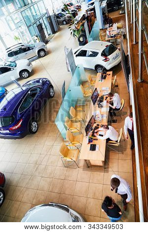 Kirov, Russia - May 07, 2019: Manager In Showroom Of Dealership Nissan In Kirov