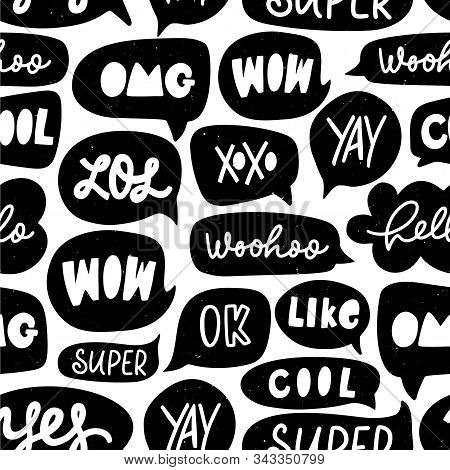 Speech Bubble Vector Seamless Pattern. Silhouette Doodle Speech Bubble With Dialog Words. Hand Drawn