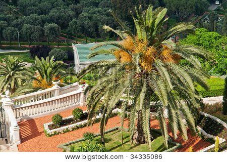 Details Of The Bahai Gardens In Haifa Israel