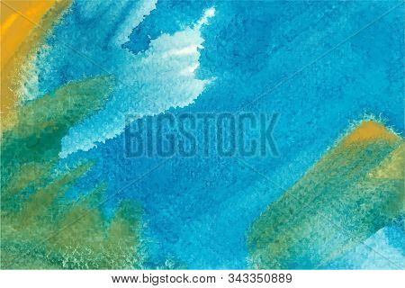 Blue And Green Watercolor Vector Background. Hand Drawn Turquoise Brush Strokes Painting. Aquarelle