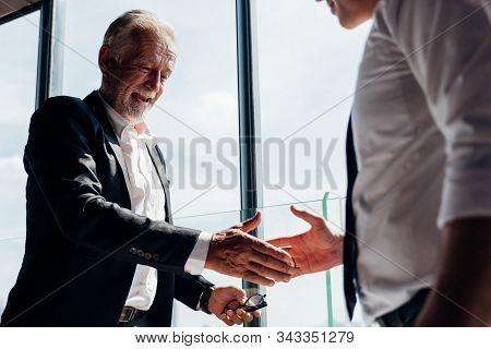 Business Partnership Successful Meeting Concept. Image Businessman Handshake. Business Etiquette. Su