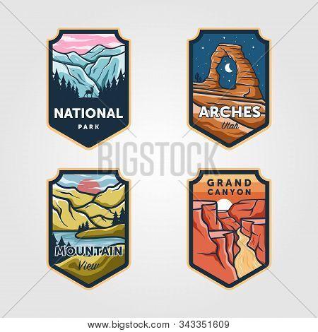 Set Of Vector National Park Outdoor Adventure Vintage Logo Emblem Illustration Designs