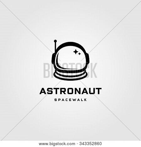 Astronaut Helmet Space Walk Travel Vintage Logo Vector Label Badge Design Illustration