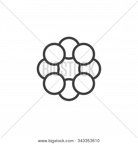 Sulfur Molecule Structure Line Icon. Linear Style Sign For Mobile Concept And Web Design. Sulfur For