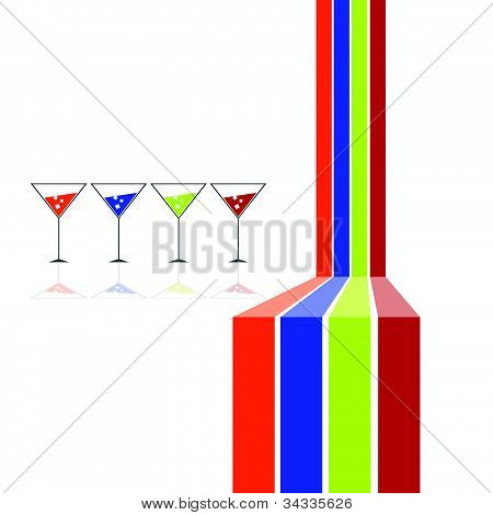 Four Glasses And Four Color Line Illustration