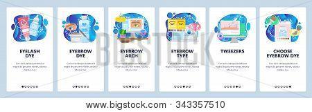 Beauty Salon, Cosmetology, Permanent Makeup, Eyelash And Eyebrow Dye, Tweezers. Mobile App Onboardin