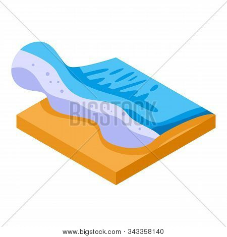 Beach Tsunami Wave Icon. Isometric Of Beach Tsunami Wave Vector Icon For Web Design Isolated On Whit