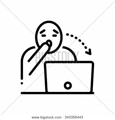Black Line Icon For Astounding Astonish  Surprised  Shocked Astound Daze Dazzle Laptop