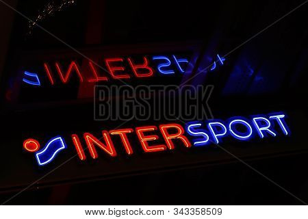 Stockholm, Sweden - January 3, 2020: Close-up View Of The Sports Retail Chain Intersport Sign Outsid