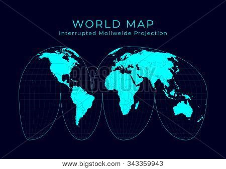 Map Of The World. Goode's Interrupted Mollweide Projection. Futuristic Infographic World Illustratio
