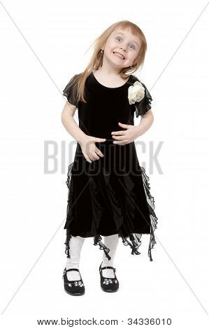 Hamming Little Lady On A White Background