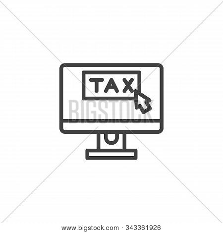 Taxes Pay Display Line Icon. Linear Style Sign For Mobile Concept And Web Design. Online Taxes Pay O