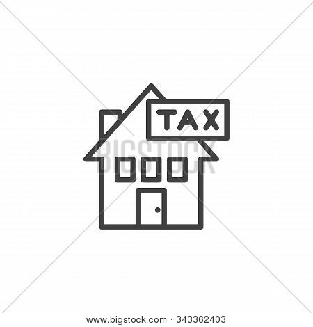 Housing Tax Line Icon. Linear Style Sign For Mobile Concept And Web Design. Property Taxes Outline V