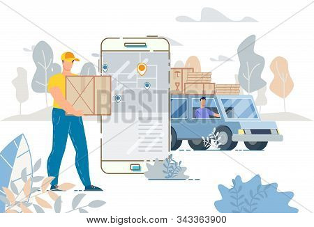 Cargo Truck Delivery Service And Tracking System Mobile App. City Logistics. Loaded Lorry Van And Dr