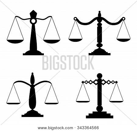 Equilibrium Scales. Trading Or Law Scales Icons. Vector Lawyers Scales, Compare Symbols, Balance And