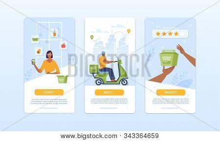 Fresh Organic Food Box Ordering And Delivery Process. Mobile Application Design Set. Fruits And Vege