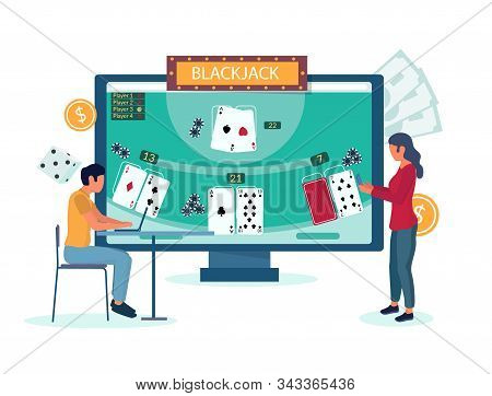 Online Blackjack Gambling Vector Concept For Website Page