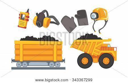 Mining Tools Vector Set. Coal And Other Minerals Extraction Concept