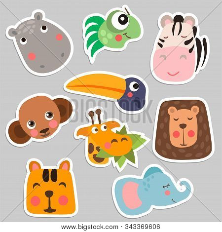 Cute Safari Animal Faces In Flat Style Isolated Vector Illustration. Decorative Safari Collection. C